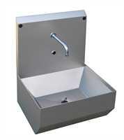 NITA Handwaschbecken aus Edelstahl, Wandbefestigung, mit Spritzschutzwand (Höhe 420 mm), Abm. Waschb