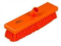 Kehrbesen, flach, 300 x 75 mm, 57 x 0,3 mm weichgewellte Borsten, orange